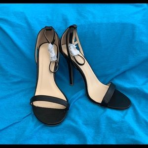 "Black Ankle Strap Cut Out Sandal 4"" Heels"